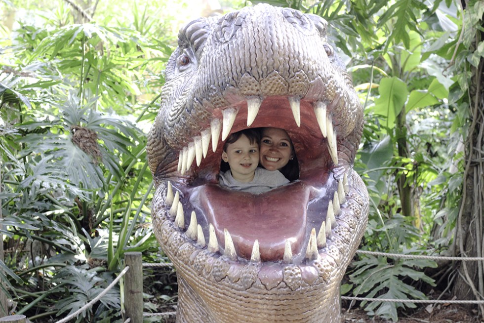 Family Activities in Orlando- Hannah and Robert in the dinosaur