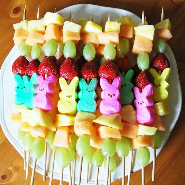 Easter Brunch Recipes- Peep Fruit Kabobs