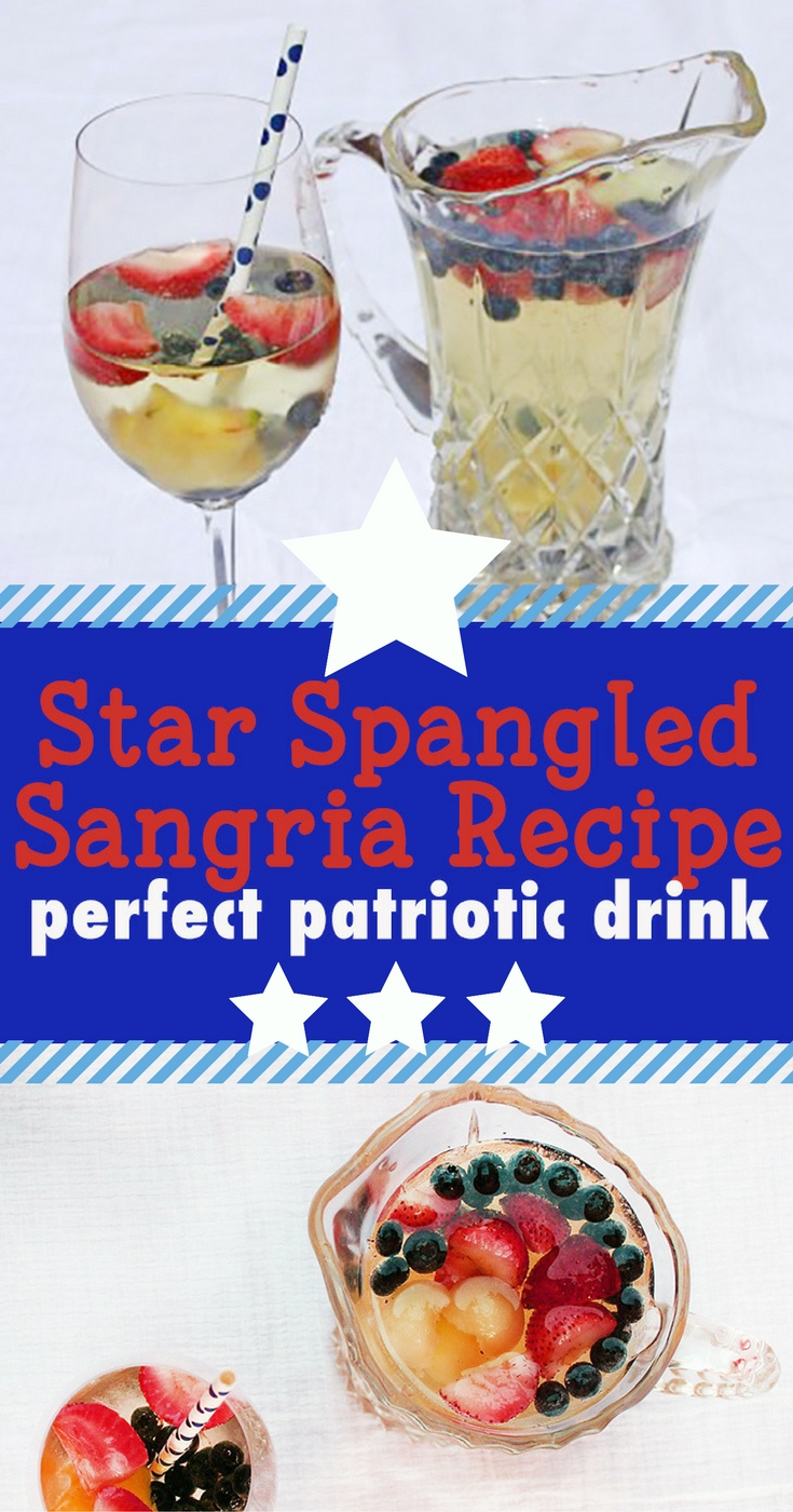 Patriotic drink recipe for Star Spangled Sangria. Happy hour cocktail is the perfect drink for Fourth of July or Memorial Day
