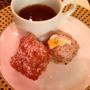 African Donuts with Fig Ice-Cream & Cardamom syrup. Served with African Chai Tea