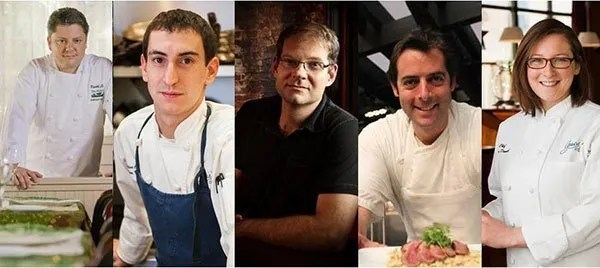 The chefs for the No Kid Hungry Providence Dinner (from left to right): Keith Luce, Matthew Varga, Evan Mallett, Matt Gennuso and Melissa Denmark