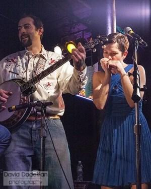 Matt Gennuso on banjo and Kristin Gennuso on harmonica