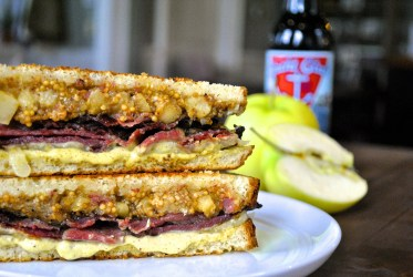 Pastrami and Apple - shaved pastrami - Chef Ashley's apple mustard chutney - cheddar - house mustard - Danielle's whole wheat pumpkin seed bread, photo via Easy Entertaining Inc.