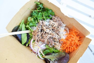 Miso-Braised Pulled Pork Rice Noodle Salad