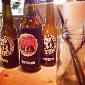 Sauces served in old beer bottles