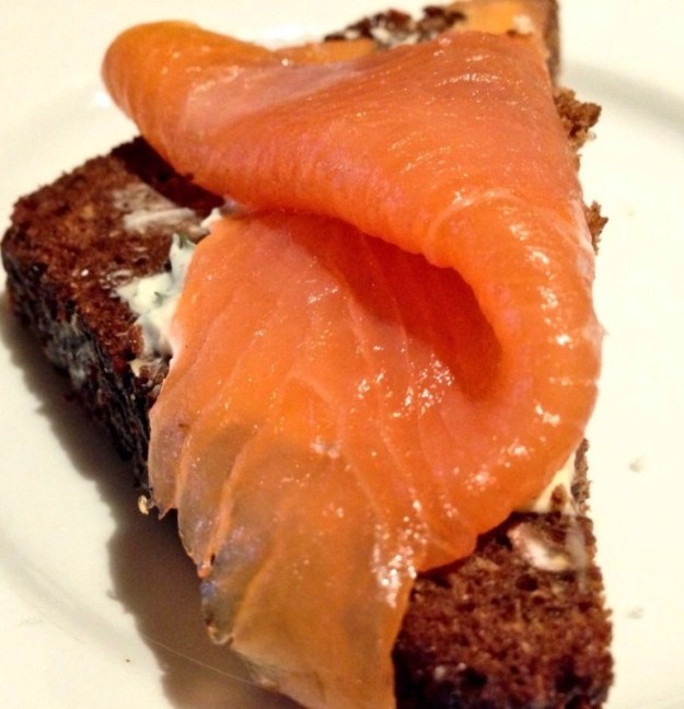 Irish Smoked Salmon & Chive Cream on Guinness Brown Bread