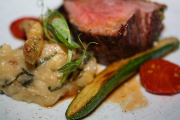 Roast Rump of Spring Lamb, Aubergine Caviar, Anchovy Beignets