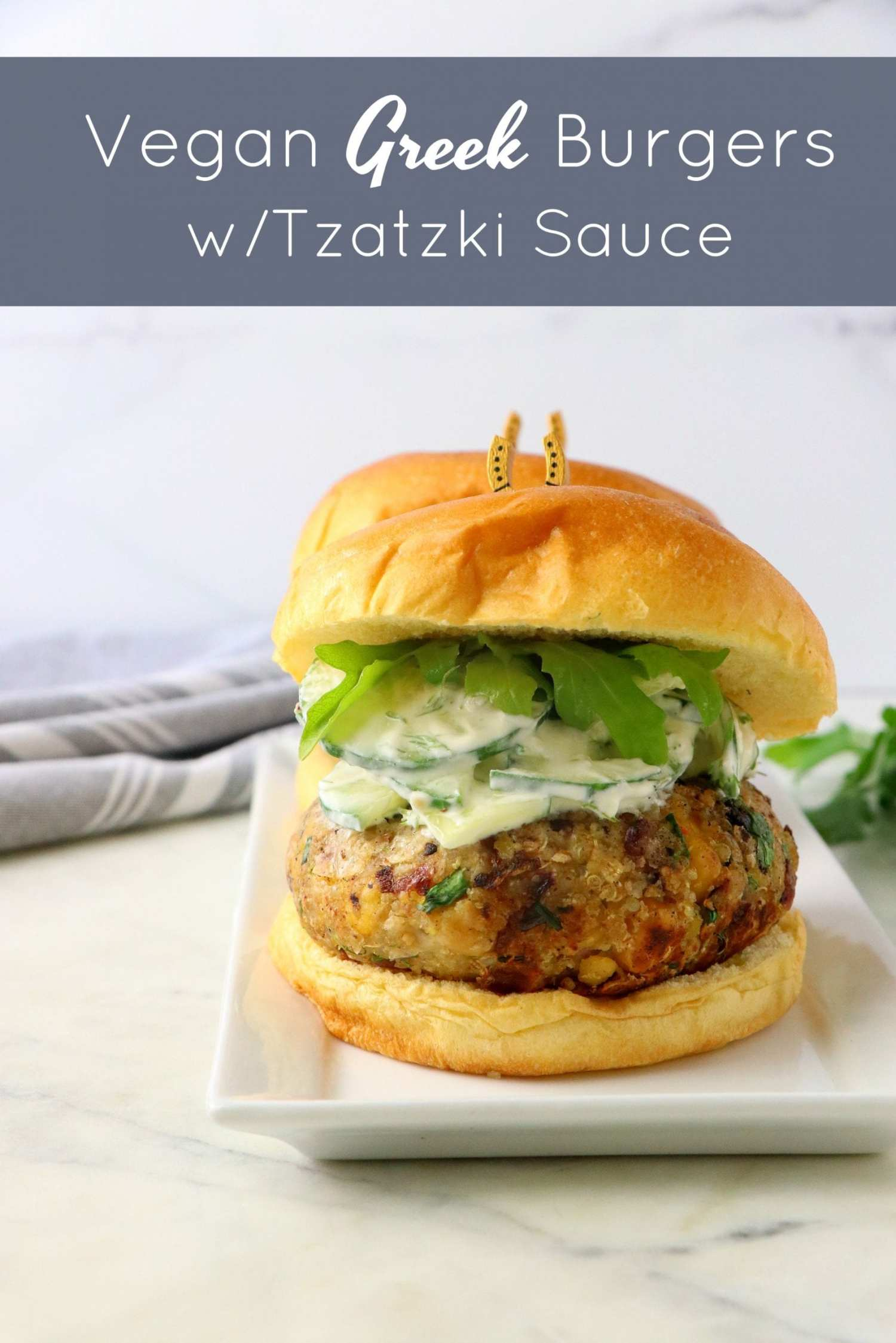 Vegan Chickpea Burgers With Tzatziki Sauce