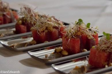 Watermelon and tuna tapa