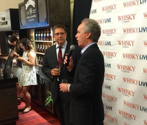 Steve was too busy sipping to get a photo, but Rick captured this image of Mayor Greg Fischer toasting Whisky Live's Dave Sweet