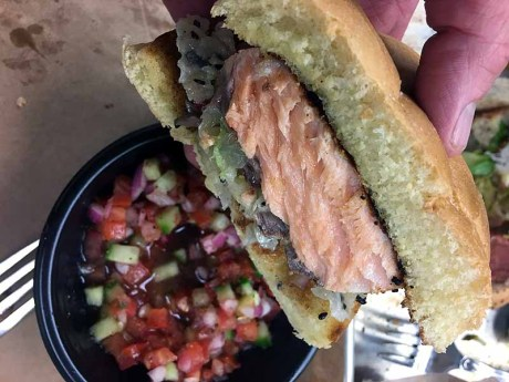 Ever seen a salmon sandwich this juicy? When you smoke and then sear, you get this result. | Photo by Steve Coomes