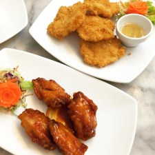 Deep Fried Chicken Wings in Red Wine Sauce and Deep Fried Shrimp Cakes