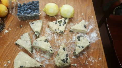 lemon blueberry scones ready to go in the oven