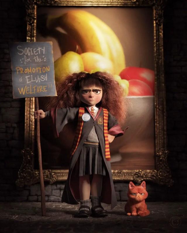 hermione con la spilla del c.r.e.p.a.