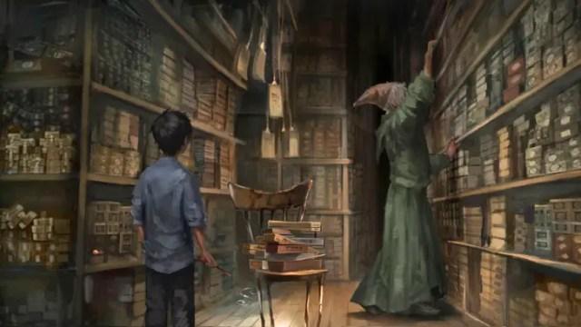 Olivander cerca la bacchette per il giovane Harry