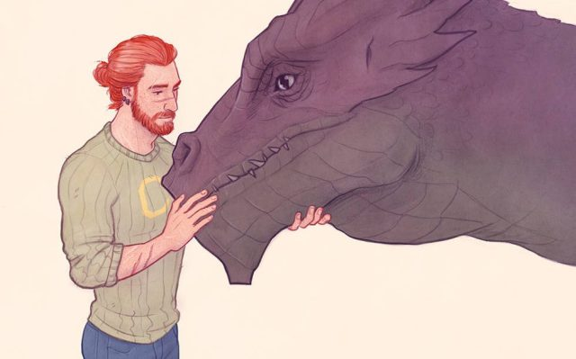 Fanart del dragologo Charlie Weasley, disegno di LouhiArt