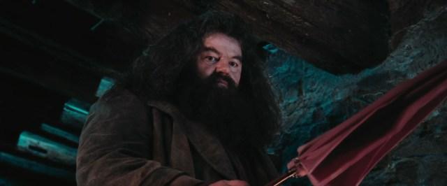 Hagrid mentre compie uno dei suoi diversi incantesimi non verbali prodotti nel suo primo incontro con Harry