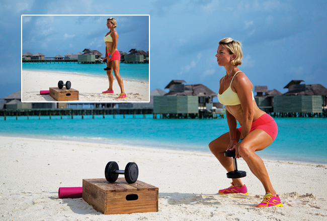 Adductor sqauts with single dumbbell - Advanced squat variations - Women's Health & Fitness