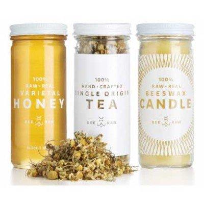 Camomile tea, raspberry honey and a beeswax candle. Ahhhh....