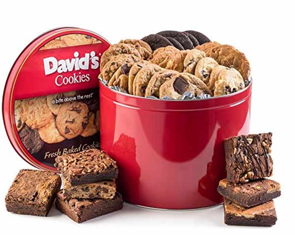 Gourmet Cookie Gifts on Amazon, David's Cookies and Brownies 5 pound tin