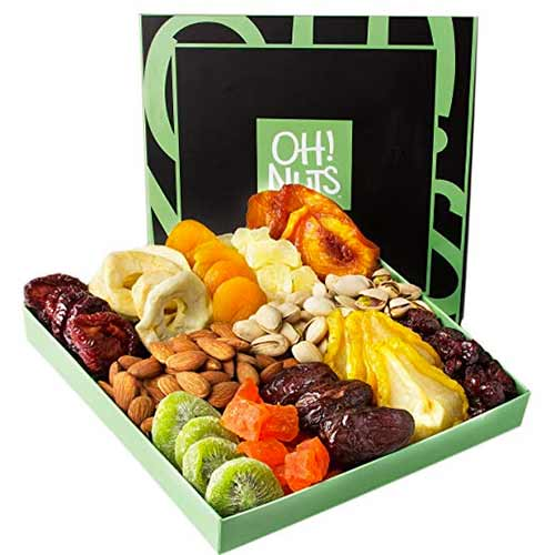 Gourmet Fruit and Nut basket by Oh! Nuts, Available on Amazon