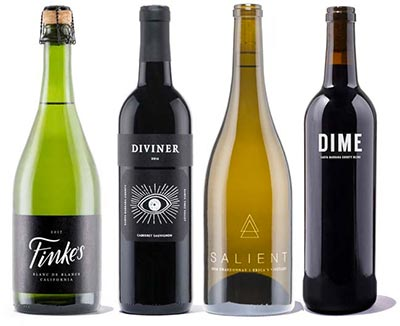 Classic wine tasting gift box that includes four bottles of wine and