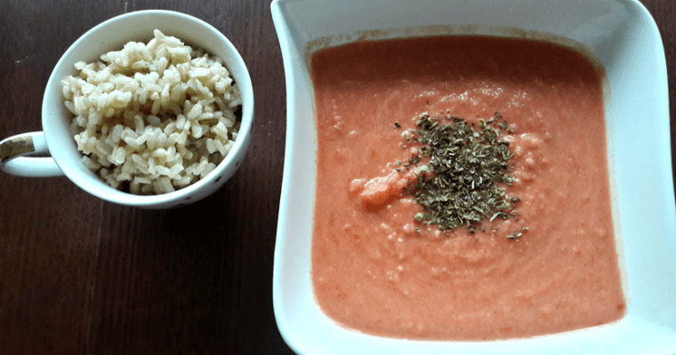 Healthy fresh tomato soup with rice