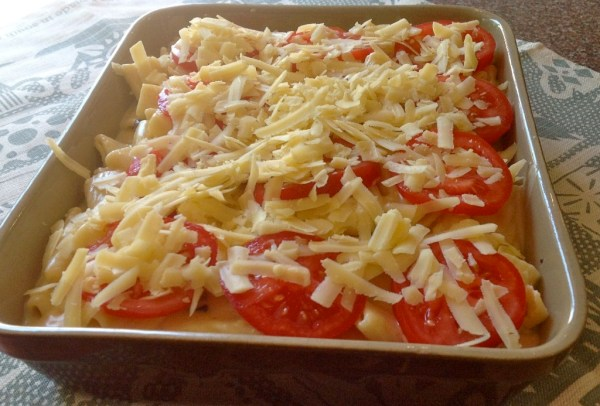 The cheesy concoction before it went into the oven