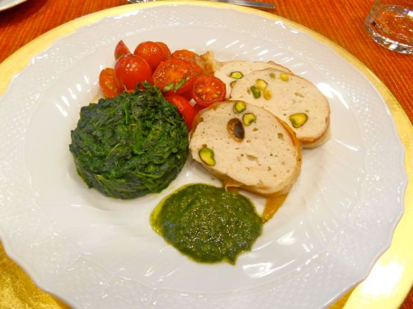 The perfect lunch...a delicious chicken terrine, spinach, cherry tomatoes and freshly made pesto