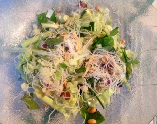 The tossed salad and its zesty dressing