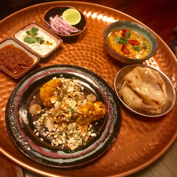 Thali: Dhal, Paratha and cauliflower