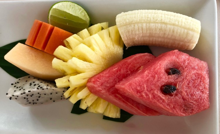 The Sarojin: breakfast fruit platter