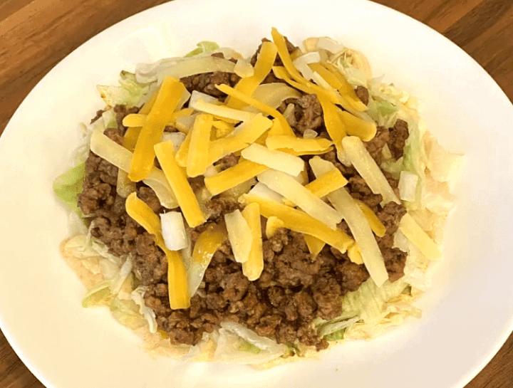 keto taco salad on a white plate
