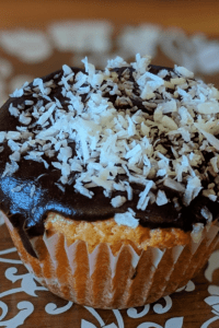 coconut chocolate butter cupcake on a dessert plate