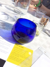The blue tinted glass is used by professional tasters so they aren't bias by the color of the oil, which doesn't necessarily matter.
