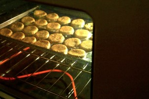 In the oven!
