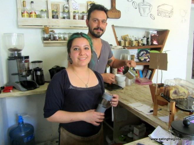 Paloma and Christian at El Cafe de la Mancha San Miguel de Allende