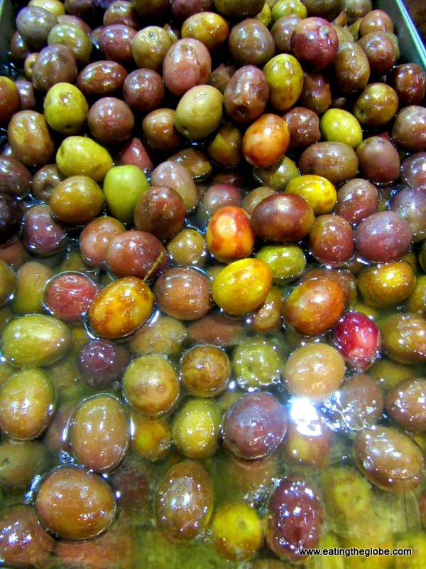green olives at chania market