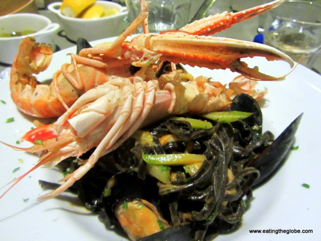 Crayfish with Squid Ink Pasta at Palazzo Almare
