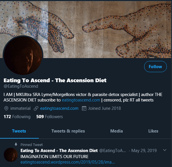 EatingToAscend on Twitter profile screenshot 29March2020