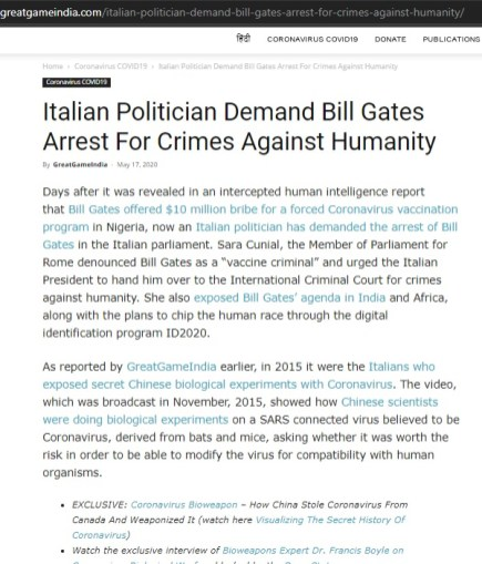 Bill Gates Crimes Against Humanity Charge by Italy 18May2020