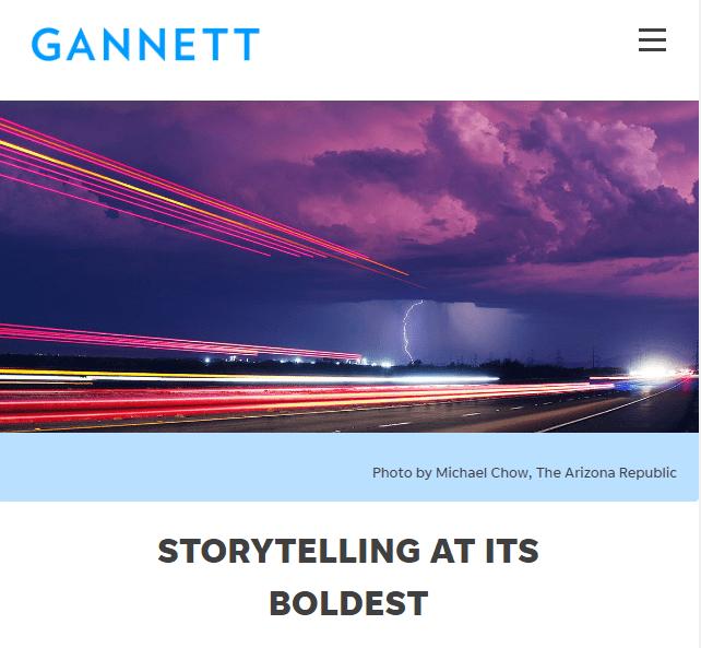 GANNETT NEWS Corporation website splashscreen, 2020