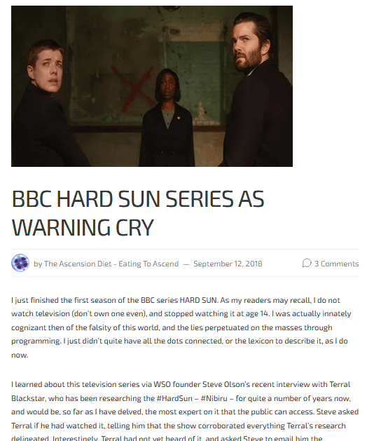 My 2018 review of the BBC series HARD SUN, about the Singularity Event earth is about to experience