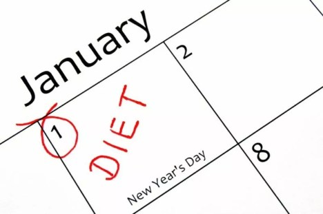 a calendar with Jan first circled as a day to start a diet