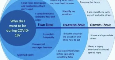 This is a diagram that shows different feelings of how you may feel during the coronavirus pandemic: fear, learning, growth