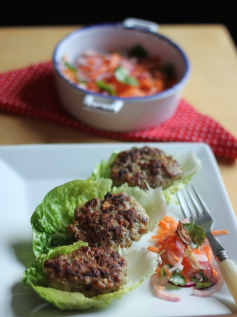 Recipe: Prawn and Pork Lemongrass Patties in Lettuce Wraps