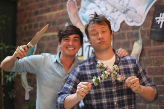 Donal Skehan and Jamie Oliver at Foodtube live on Tuesday