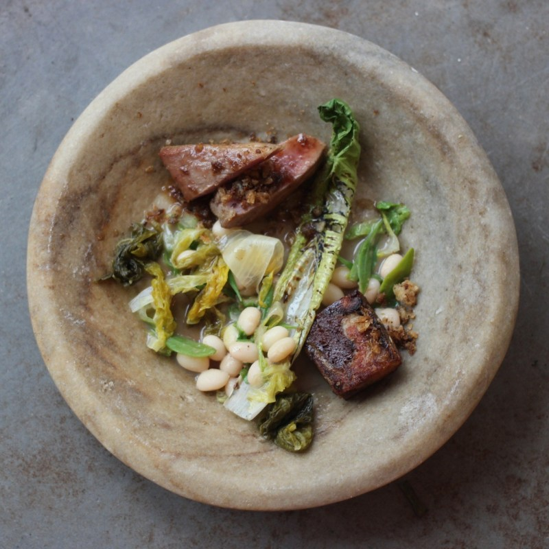 Iberico Presa, pig head, coco beans, anchovy & lettuce