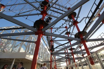 The ropes course on the top deck
