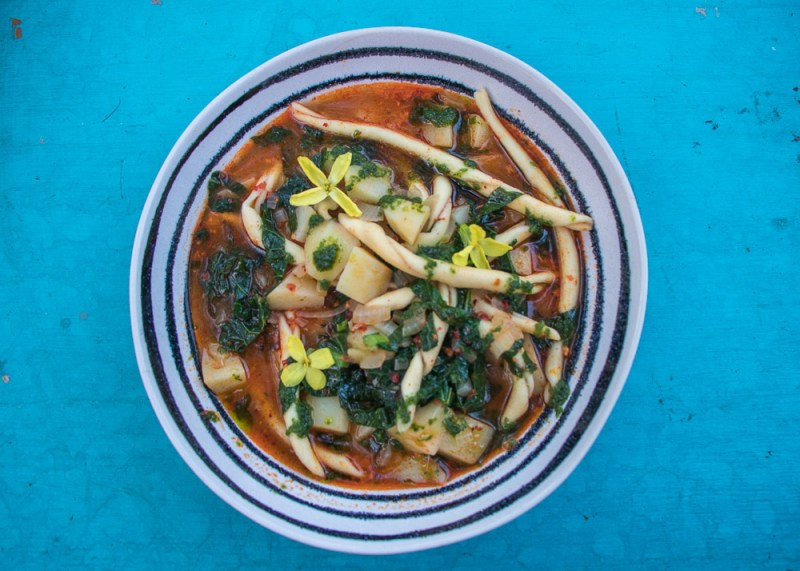 'Nduja and Potato Pasta Soup with Wild Garlic